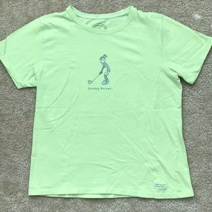 Life is Good pale lime green golf t-shirt